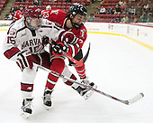 Seb Lloyd (Harvard - 15), Jared Wilson (RPI - 13) - The Harvard University Crimson defeated the visiting Rensselaer Polytechnic Institute Engineers 5-2 in game 1 of their ECAC quarterfinal series on Friday, March 11, 2016, at Bright-Landry Hockey Center in Boston, Massachusetts.