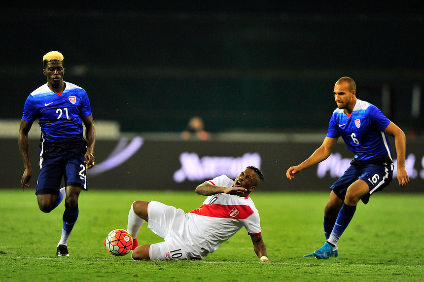 Jefferson Farfan of Peru reacts after a collision. USA defeated Peru 2-1 during a Friendly Match at the RFK Stadium in Washington, D.C. on Friday, September 4, 2015.  Alan P. Santos/DC Sports Box