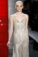 Janice walks runway in a multi-sequin starburst v-neck gown, from the Reem Acra Fall 2012 Feminine Power collection fashion show, during Mercedes-Benz Fashion Week New York Fall 2012 at Lincoln Center.