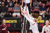 STANFORD, CA - August 28, 2016: Hayley Hodson, Audriana Fitzmorris at Maples Pavilion. The Stanford Cardinal defeated the University of Minnesota 3-1.