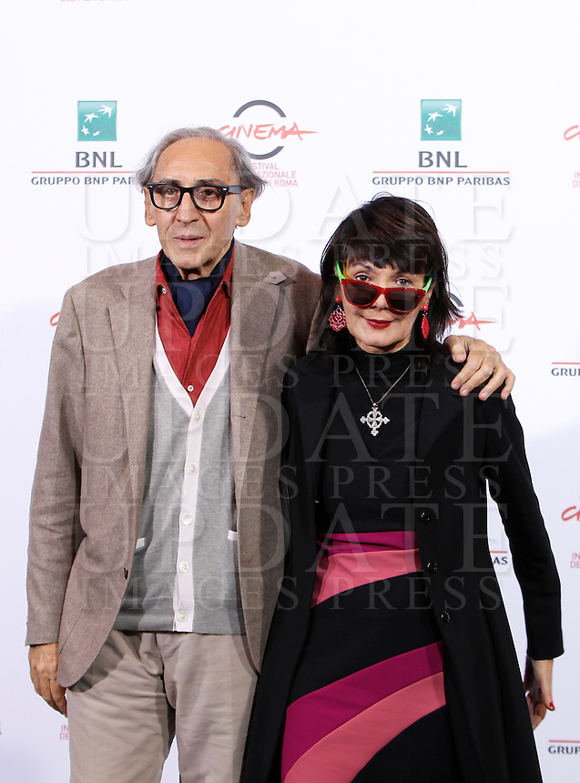 Il musicista Franco Battiato e la regista Elisabetta Sgarbi posano durante un photocall per la presentazione del film &quot;Due volte Delta&quot; al Festival Internazionale del Film di Roma, 23 ottobre 2014.<br /> Italian musician Franco Battiato and director Elisabetta Sgarbi  pose for a photocall present the movie &quot;Due volte Delta&quot; during the international Rome Film Festival at Rome's Auditorium, 23 October 2014.<br /> UPDATE IMAGES PRESS/Isabella Bonotto
