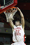 03 December 2011:  Jon Ekey takes the ball to the hoop and slams it through for two during an NCAA mens basketball game where the University of North Carolina at Wilmington Seahawks defeated the Illinois State Redbirds 63-54 inside Redbird Arena, Normal IL