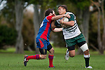 Cameron Bell tackles Tim Nanai-Williams. Counties Manukau Premier Club Rugby game between Manurewa and Ardmore Marist played at Mountfort Park, Manurewa on Saturday June 19th 2010..Manurewa won the game 27 - 10 after leading 15 - 5 at halftime.