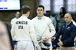 11 February 2017: UNC's Michael Gopman Slonim (center) talks with Jacob Henkels (left) and coach Josh Webb (right) before his Epee match. The Duke University Blue Devils hosted the University of North Carolina Tar Heels at Card Gym in Durham, North Carolina in a 2017 College Men's Fencing match. Duke won the dual match 19-8 overall, 6-3 Foil, 6-3 Epee, and 7-2 Saber.