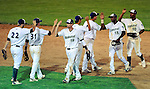 2 July 2011: The Vermont Lake Monsters celebrate a victory over the visiting the Tri-City ValleyCats at Centennial Field in Burlington, Vermont. The Lake Monsters rallied from a 4-2 deficit to defeat the ValletCats 7-4 in NY Penn League action. Mandatory Credit: Ed Wolfstein Photo