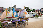 Toy sailboats that can be rented at the Tuileries Gardens in Paris, France