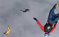 Skydivers free falling during Ekstremsportveko, The Extremesport Week. It is the worlds largest gathering of adrenalin junkies.<br />