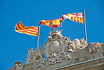 Flags of Spain and Catalonia, Barcelona, Spain