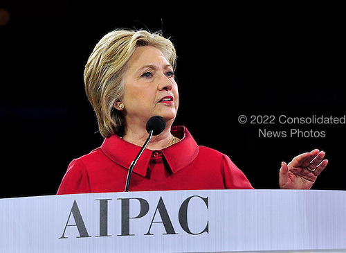 Former United States Secretary of State Hillary Rodham Clinton, a candidate for the Democratic Party nomination for President of the United States, speaks at the 2016 AIPAC Policy Conference at the Verizon Center in Washington, DC on Monday March 21, 2016.<br /> Credit: Ron Sachs / CNP