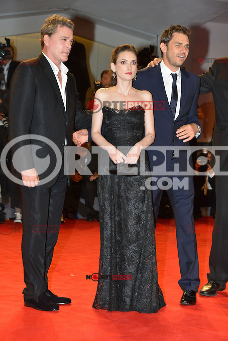 VENICE, ITALY - AUGUST 30: Actors Ray Liotta, Winona Ryder, Ariel Vromen and Michael Shannon attend 'The Iceman' Premiere during the 69th Venice International Film Festival at Palazzo del Casino on August 30, 2012 in Venice, Italy AFG / Mediapunchinc /NortePhoto.com<br />