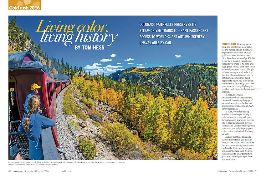 Double page spread opener of cover story in September/October 2016 AAA EnCompass Magazine of the Cumbres & Toltec Railroad in southern Colorado.