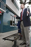 "San Diego Councilmember for District 2, Kevin Faulconer speaks with members of the Point Loma Association about the recent removal of newspaper racks near the Point Loma Post Office in San Diego city, Friday November 16 2007.  The owners of the stands chose to remove the racks rather than comply with a new ordinance passed by San Diego City Council.  Some of the racks found around the city contain magazines and papers that many residents find offensive and lewd.  Others are in disrepair and are not properly maintained by their owners.  The ordinance will apply city-wide and Faulconer credited the Point Loma Association with ""getting the ball rolling"" and said that the rest of San Diego has them to thank for the new laws."