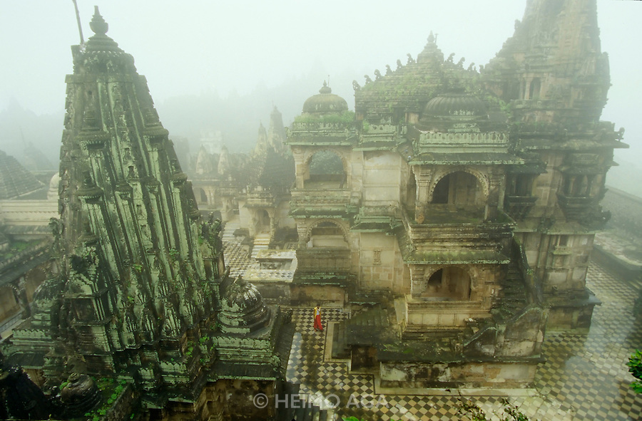 The Palitana Jain temples in the morning mist.