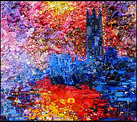 BNPS.co.uk (01202 558833)<br /> Pic: Bluebowerbird/BNPS<br /> <br /> Monet's famous view of London recreated in recycled plastic.<br /> <br /> PopArt - Artist Jane Perkins recreates famous people and paintings from recycled plastic rubbish.<br /> <br /> Her stunning 'Plastic Classics' generate the most interest and sell for thousands of pounds.<br /> <br /> She has created rubbish replica's of famous paiintings by Van Gogh's, Monet, Raphael, Gustav Klimt, Salvi and Frida Kahlo as well as Japanese artist Katsushika Hokusai's the Great Wave of Kanagawa.<br /> <br /> She also creates pictures of animals for private commissions. For example, a stunning work of a tiger's head is made up of objects like plastic toy animals, golf tees and beads.<br /> <br /> Jane, a former hospital nurse from Kenton, near Exeter, Devon, now sells her work for up to &pound;2,500 a go.<br /> <br /> She said: &quot;I go to car boot sales and buy anything that is plastic, mostly toys and bits of broken jewellery, anything small. The neighbours often give me bags of bits and pieces they no longer want. <br /> <br /> &quot;People love them because they can see the whole image but also see what is in it. They can find things in them that they recognise, like little bits from their childhood.