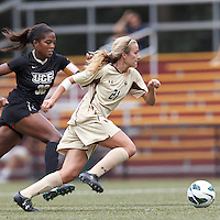 Boston College midfielder Kate McCarthy (21) on the attack. After two overtime periods, Boston College tied University of Central Florida, 2-2, at Newton Campus Field, September 9, 2012.