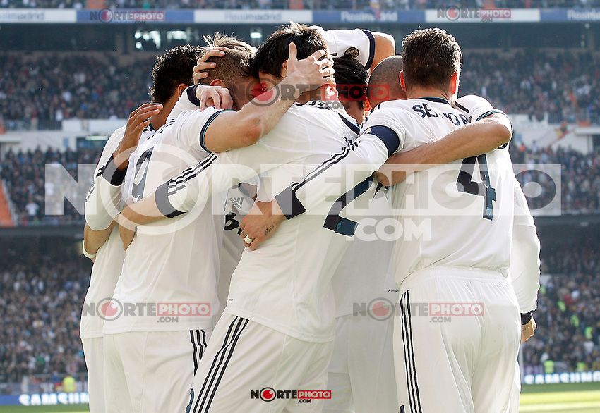 Real Madrid's Karim Benzema, Raphael Varane, Alvaro Morata, Fabio Coentrao, Sergio Ramos and Pepe celebrate goal during La Liga match.March 02,2013. (ALTERPHOTOS/Acero) /NortePhoto