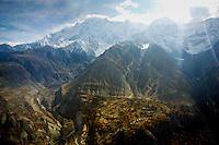 Snow-covered peaks and valleys of Karokoram Mountains, Skardu Valley, North Pakistan