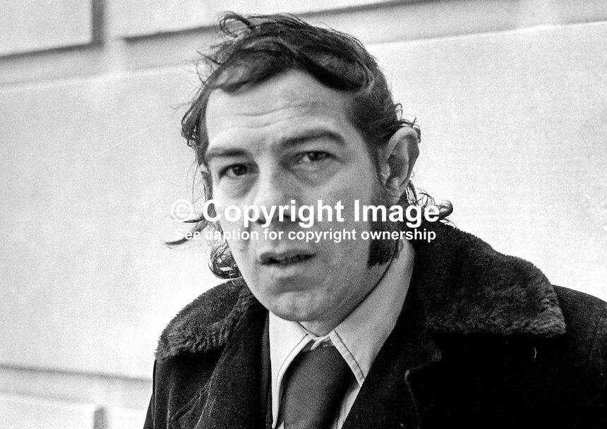 Hugh Smyth, Independent Loyalist assemblyman, N Ireland Assembly, Belfast, N Ireland, photographed outside Parliament Buildings, February 1974. 1974020066a<br />