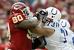 31 October 2004: Ryan Sims (90) and Jake Scott (73). The Kansas City Chiefs defeated the Indianapolis Colts 45-35 at Arrowhead Stadium in Kansas City, MO in a regular season National Football League game..