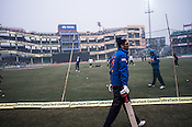 Yuvraj SIngh, member of the Indian cricket team practicing in the nets at the Firozshah Kotla Cricket grounds in Delhi, India