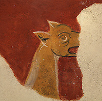 Detail of wall painting (20th century copy),  Lombard Romanesque style Church of Sant Joan de Boi, 11th century, Catalonia, Spain. On the undersides of arches and in the lower part of the church are murals representing the Medieval bestiary, a mix of known animals and fantastic beasts. The murals are now preserved at the National Museum of Catalan Art (MNAC) in Barcelona. Picture by Manuel Cohen.