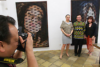 Vienna, Austria. Galerie Suppan Contemporary. Vernissage of Zico Albaiquni (Indonesia), &quot;beyond the veil&quot;.<br /> From l.: Dr. Claudia Suppan, H.E. Rachmat Budiman, Indonesian Ambassador to Austria, Dr. Melani Setiawan.