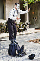 A mime performs in the streets of Athens, Greece