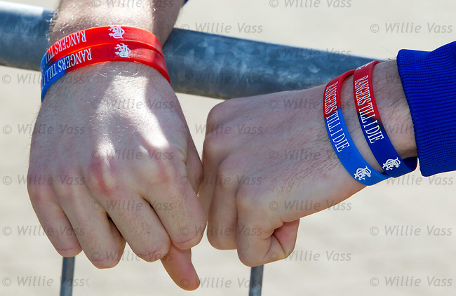 "Steven Whittaker with ""Rangers Till I Die"" wristbands"