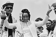 09 May 1970, Washington, DC, USA --- Coretta Scott King at a demonstration in Washington, DC, where over 100,000 students are protesting the recent violence used to breakup a Vietnam War protest at Kent State University. Four Kent State students were killed, and many others injured, when members of the National Guard fired tear gas and rifles into crowds of student demonstrators who were protesting the Nixon administration's expansion of the Vietnam War into Cambodia. --- Image by © JP Laffont/Sygma/CORBIS