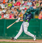12 July 2015: Vermont Lake Monsters designated hitter Seth Brown in action against the West Virginia Black Bears at Centennial Field in Burlington, Vermont. The Lake Monsters came back from a 4-0 deficit to defeat the Black Bears 5-4 in NY Penn League action. Mandatory Credit: Ed Wolfstein Photo *** RAW Image File Available ****