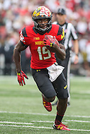 College Park, MD - October 1, 2016: Maryland Terrapins wide receiver Teldrick Morgan (19) in action during game between Purdue and Maryland at  Capital One Field at Maryland Stadium in College Park, MD.  (Photo by Elliott Brown/Media Images International)