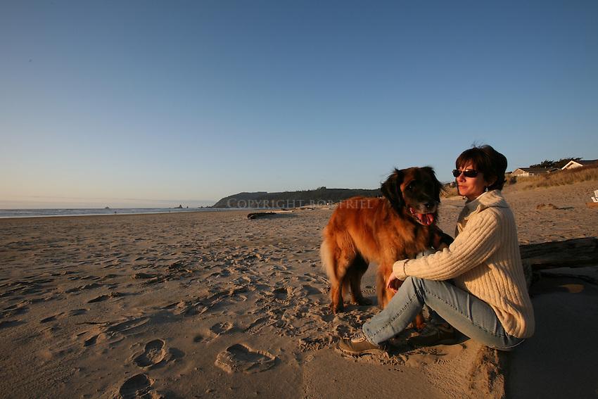 Murphy the Leonberger enjoying Cannon Beach, Oregon