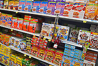 American grocery store cereal boxes