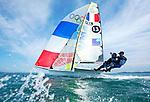 ISAF Sailing World Cup Hy&egrave;res - F&eacute;d&eacute;ration Fran&ccedil;aise de Voile. 49er, Julien D&rsquo;Ortoli<br /> No&eacute; Delpech.