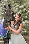 Kol Ami Bat Mitzvah.Emma in her gown, with her horse, on a snowy afternoon before her Bat Mitzvah ceremony..