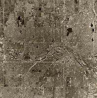 historical aerial photograph Denver, Colorado, 1970