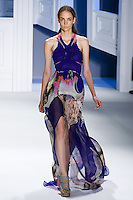 Zuzanna Bijoch walks runway in an indigo psychedelic printed chiffon tiered gown with organza train.by Vera Wang, for the Vera Wang Spring 2012 collection, during Mercedes-Benz Fashion Week Spring 2012.