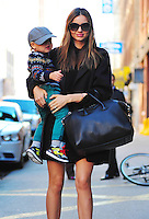 Miranda Kerr with her son Flynn Bloom, 22 months in New York City