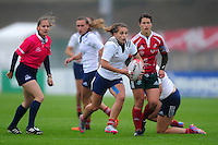 Blandine Gadioux of France in attack. FISU World University Championship Rugby Sevens Women's Semi Final between France and Portugal on July 9, 2016 at the Swansea University International Sports Village in Swansea, Wales. Photo by: Patrick Khachfe / Onside Images