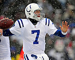 3 January 2010: Indianapolis Colts' quarterback Curtis Painter in action during a game against the Buffalo Bills on a cold, snowy, final game of the season at Ralph Wilson Stadium in Orchard Park, New York. The Bills defeated the Colts 30-7. Mandatory Credit: Ed Wolfstein Photo