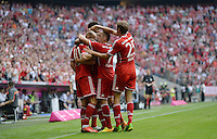 Fussball  1. Bundesliga  Saison 2013/2014  3. Spieltag FC Bayern Muenchen - 1. FC Nuernberg       24.08.2013 JUBEL FC Bayern Muenchen; Arjen Robben, Jerome Boateng, Franck Ribery und Thomas Mueller (v.li.)