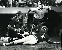 Oakland A's vs Chicago White Sox, catcher Jim Essian tags out A's runner Jim Tyrone  (Sept 5,1977        <br />(photo by Ron Riesterer)