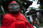 A monkey god at Sarutahiko temple in Sugamo, Tokyo, Japan. Friday, August 14th 2009. Sugamo is affectionately known as the old lady Harajuku, in reference to the Mecca for youth fashions in the South of Tokyo, and is a popular place for Tokyo's increasingly aged population.