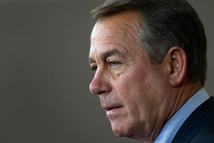 UNITED STATES - FEBRUARY 16: House Speaker John Boehner, R-Ohio, holds his weekly news conference. (Photo By Chris Maddaloni/CQ Roll Call)