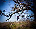 LB00131-00...OREGON - Hiker in the North Bank Habitat Management Area near Roseburg.  (MR# S1).  Holga image.