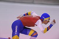 SPEEDSKATING: CALGARY: 14-11-2015, Olympic Oval, ISU World Cup, 1000m B-division, Pedro Causil (COL), ©foto Martin de Jong