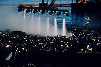 Exxon Valdez Oil Spill Clean up machine (Omni Boom) uses hot water hoses to wash oil from Point Helen, Knight Island, August 1989, Prince William Sound, Alaska