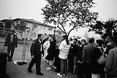 Santa Maria, California.USA.April 2005..Michael Jackson fans gather at 6 AM just outside the courthouse in hopes of winning one of the 46 lottery tickets to enter the court room to witness the child abuse trial of pop singer Michael Jackson...Mr. Jackson, 46, denies all 10 charges against him, including child abuse. He faces up to 20 years in jail if convicted on all charges.