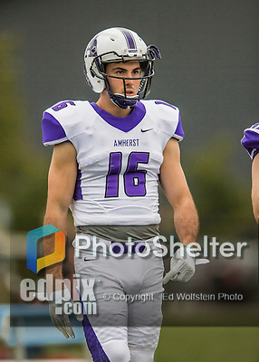 8 October 2016: Amherst College Purple & White Wide Receiver Nick Gill, a First Year from Boston, MA, returns to the sidelines during a game against the Middlebury College Panthers at Alumni Stadium in Middlebury, Vermont. The Panthers edged out the Purple & While 27-26. Mandatory Credit: Ed Wolfstein Photo *** RAW (NEF) Image File Available ***