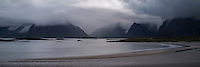 Stormy weather over Yttersand beach, Moskenesøy, Lofoten Islands, Norway